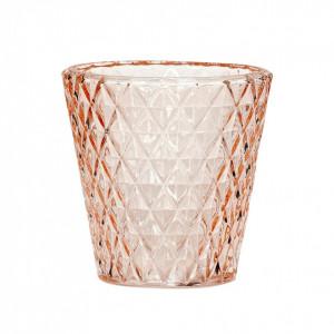 Suport lumanare roz din sticla 10 cm Riley Hubsch
