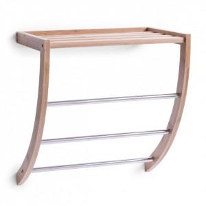 Suport maro din lemn de bambus si metal pentru prosoape 40 cm Bamboo Zeller