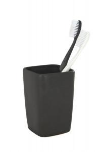 Suport negru din ceramica pentru periuta dinti 7,5x10,7 cm Faro Wenko