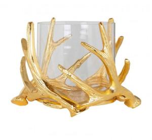 Suport transparent/auriu din sticla si aluminiu pentru lumanare 14 cm Harvey Richmond Interiors