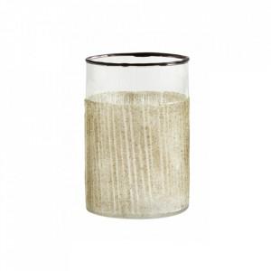 Suport transparent/bej nisipiu din sticla pentru lumanare 10 cm Tina Nordal