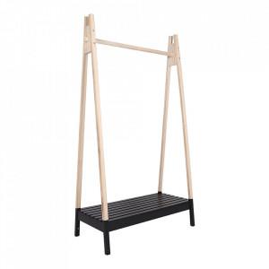 Suport umerase maro/negru din lemn si MDF 170 cm Torino House Nordic