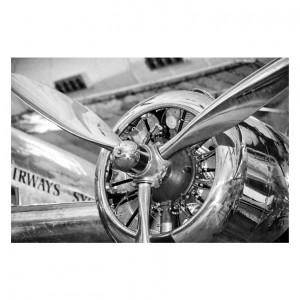 Tablou alb/negru din sticla 80x120 cm Engine Signal Meble