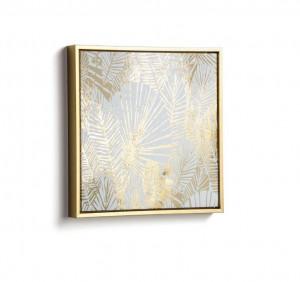 Tablou auriu din lemn 40x40 cm Ibisco Gold Kave Home