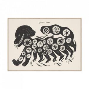 Tablou cu rama din lemn de stejar Chinese Dog Black Paper Collective