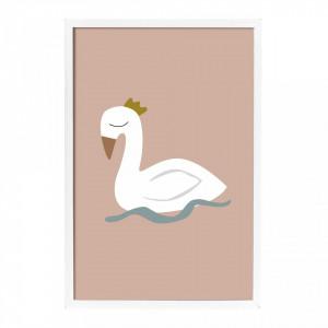 Tablou roz din hartie si MDF 45x65 cm Swan Bloomingville Mini