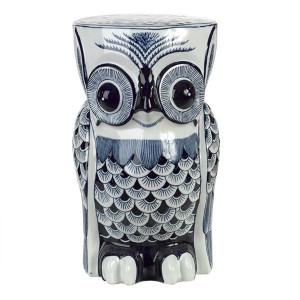 Taburet decorativ din portelan albastru Owl Pols Potten