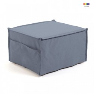 Taburet dreptunghiular modular albastru din bumbac si lemn 60x70 cm Lizzie Kave Home