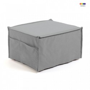 Taburet dreptunghiular modular gri din bumbac si lemn 60x70 cm Lizzie La Forma