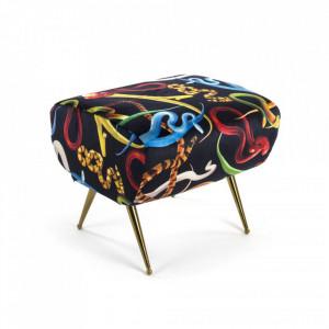 Taburet dreptunghiular multicolor din poliester si lemn 46x51 cm Snakes Toiletpaper Seletti