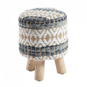 Taburet multicolor din bumbac si lemn 33 cm Luc Kave Home
