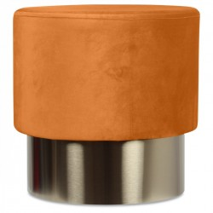 Taburet portocaliu din catifea cu baza aurie din metal 35x35 Serge Opjet Paris