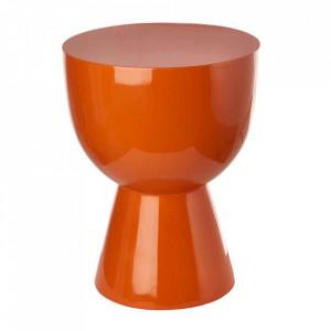 Taburet rotund portocaliu din poliester lacuit 35,5 cm Tam Tam Pols Potten