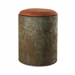 Taburet rotund portocaliu din textil si MDF 35 cm Cap Pols Potten