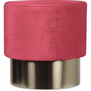 Taburet roz din catifea cu baza aurie din metal 35x35 Serge Opjet Paris