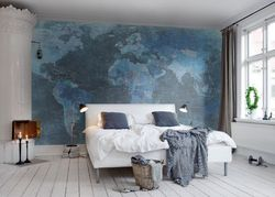 Tapet World Map Blue Rebel Walls