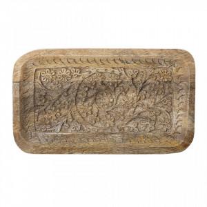 Tava decorativa dreptunghiulara maro din lemn de mango 15x25 cm Aliwal Creative Collection