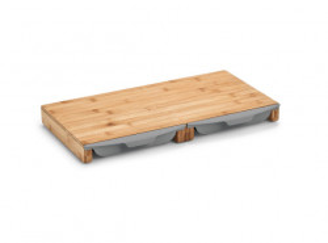 Tocator dreptunghiular maro/gri din lemn si plastic 28,5x50 cm Gray Drip Trays Zeller
