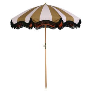 Umbrela pentru plaja nude/galben mustar din poliester si lemn Matilda HK Living