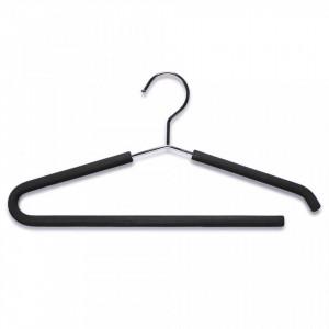 Umeras negru/argintiu din metal si EVA Clothes Trousers Hanger Zeller