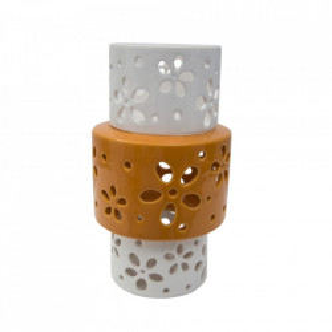 Vaza alba/portocalie din portelan 24 cm Ring Mauro Ferretti