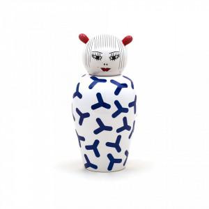 Vaza cu capac alb/albastru din portelan 17x25,5 cm Canopie Zoé Seletti