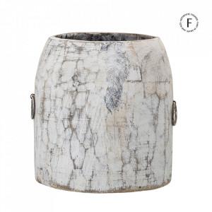 Vaza decorativa alba din lemn 19 cm Bivona Creative Collection