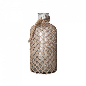 Vaza decorativa transparenta/maro din sticla si iuta 48 cm Bitt Vical Home