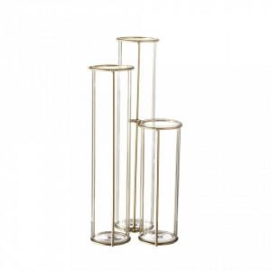 Vaza din sticla si metal 25 cm Trio Bloomingville