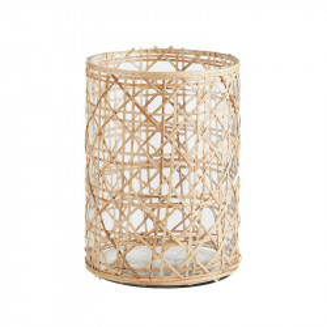 Vaza transparenta/crem din sticla si bambus 20 cm Lagle Bloomingville