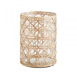 Vaza transparenta/crem din sticla si bambus 20 cm Lagle Madam Stoltz