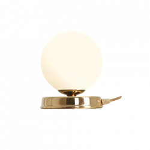 Veioza alba/aurie din sticla si metal 17 cm Ball S Aldex