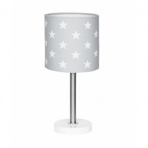 Veioza gri argintie din textil si inox 35 cm Stars Livone