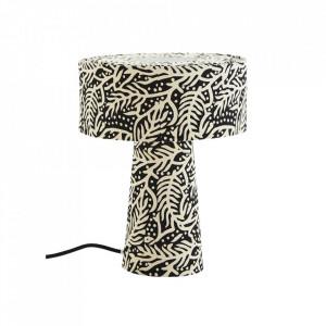Veioza neagra/alba din bumbac si fier 31 cm Printed Mushroom Madam Stoltz