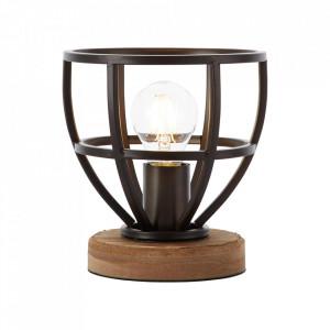 Veioza neagra antichizata din lemn si metal 19 cm Matrix Brilliant