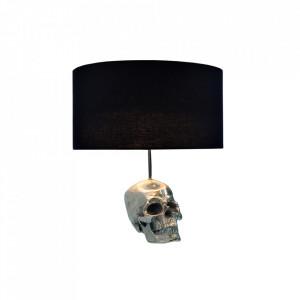 Veioza neagra/argintie din textil si aluminiu 44 cm Skull Invicta Interior