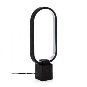 Veioza neagra din metal si marmura cu LED 43 cm Cinta La Forma