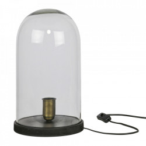 Veioza neagra/transparenta din lemn si sticla 38 cm Cover Be Pure Home
