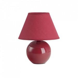 Veioza rosie din ceramica si textil 23 cm Primo Brilliant