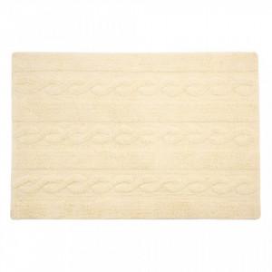 Covor dreptunghiular crem vanilie din bumbac 80x120 cm Braids Vanilla SmallLorena Canals