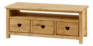 Masuta maro pentru cafea din lemn de pin 43x95 cm Heart Zago