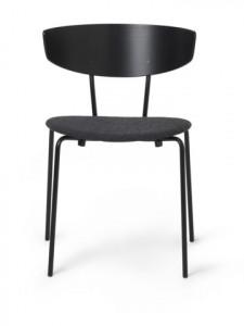 Scaun dining negru/gri din metal si lemn Herman Black/Dark Grey Ferm Living