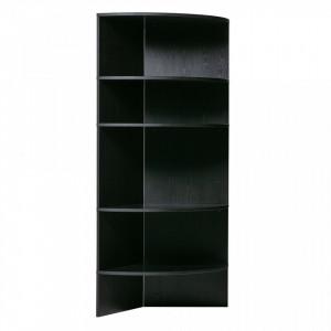 Biblioteca neagra din lemn 168 cm Trian Black Woood