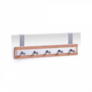 Cuier argintiu/maro din lemn si inox pentru usa Door Hanger Bamboo Zeller