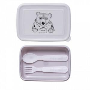 Cutie pentru pranz mov din plastic Hungry Bear Bloomingville