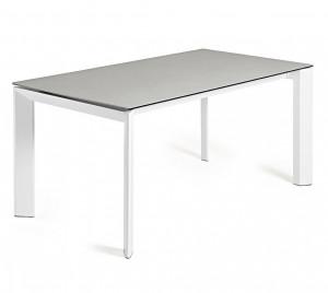 Masa dining extensibila dreptunghiulara alb/gri din otel si portelan 90x(160)220 cm Atta La Forma