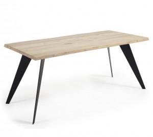 Masa dining dreptunghiulara maro/neagra din otel si lemn de stejar 100x220 cm Nack La Forma