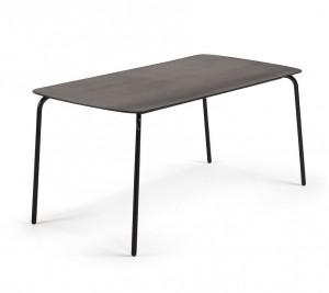 Masa dining dreptunghiulara neagra din poli-ciment pentru exterior 80x160 cm Tramp La Forma