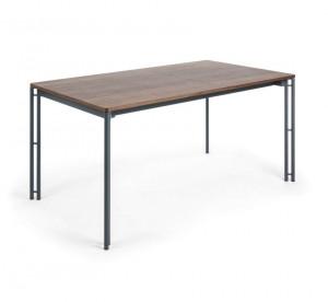 Masa dining extensibila dreptunghiulara maro din lemn si otel 90x(160)220 cm Mahon La Forma