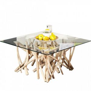 Masuta crem din lemn si sticla pentru cafea 80x80 cm Driftwood Invicta Interior